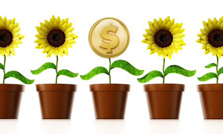 pot leaf: Gold coin with dollar sign on the flower pot among regular flowers. 3D illustration. Stock Photo
