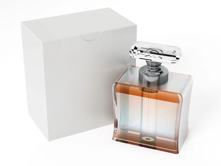 perfume bottle: Perfume bottle and blank white box. 3D illustration. Stock Photo