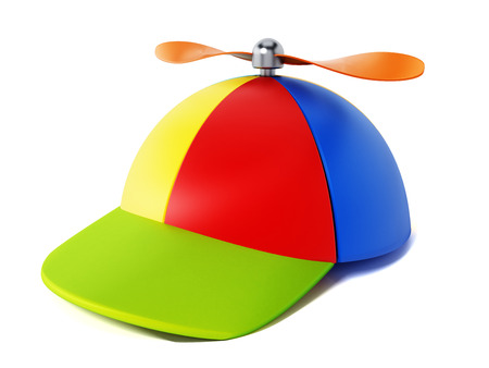 Multi colored hat with propeller isolated on white background. 3D illustration.