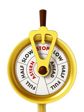 throttle: Engine order telegraph isolated on white background. 3D illustration. Stock Photo