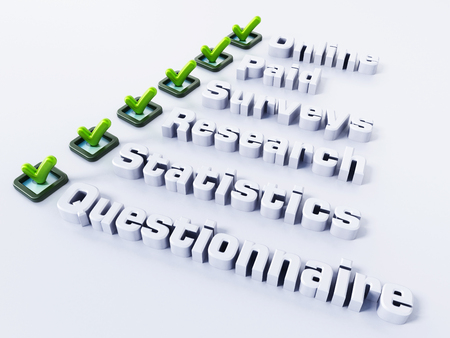 quantitative: Online paid survey concept word. 3D illustration.