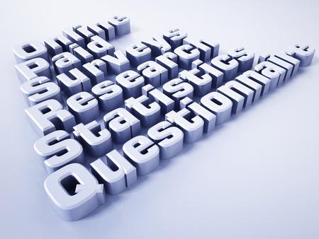 participation: Online paid survey concept word. 3D illustration.