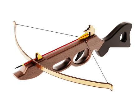 arbalest: Vintage crossbow isolated on white background. 3D illustration.