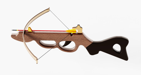Vintage crossbow isolated on white background. 3D illustration.