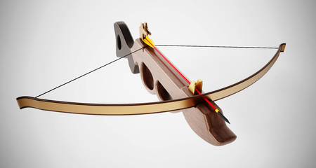 weapon: Vintage crossbow isolated on white background. 3D illustration.