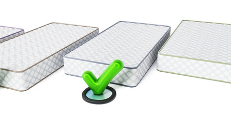 clean home: Mattress and tick sign isolated on white background. 3D illustration.