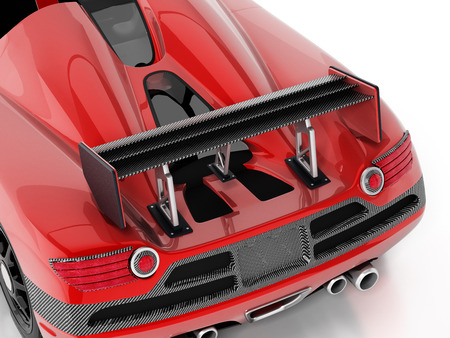 Red race car with carbon fiber spoiler. 3D illustration.