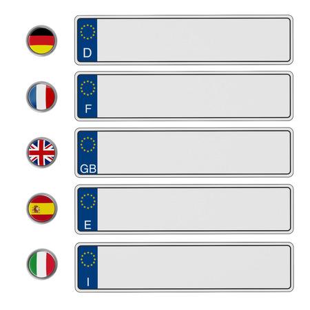 European Union license plates isolated on white background. 3D illustration.