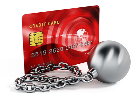 prisoner ball: Ball and chain connected to credit card. 3d illustration.