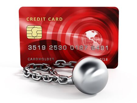 prisoner of the money: Ball and chain connected to credit card. 3d illustration.