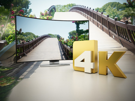 ultra: 4K Ultra HD television on a bridge and sky setting. 3D illustration.