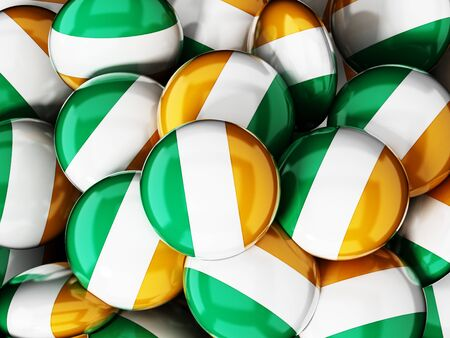 irish flag: Stack of buttons with irish flag. 3D illustration.