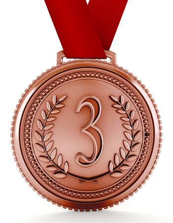 medal: Bronze medal with number three. 3D illustration.