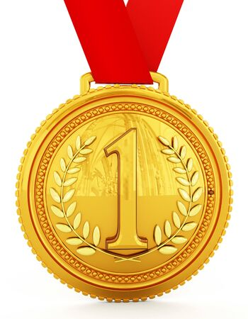 medal: Gold medal with number one. 3D illustration.