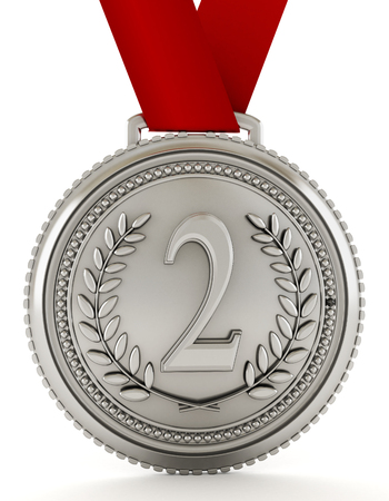silver medal: Silver medal with number two. 3D illustration.