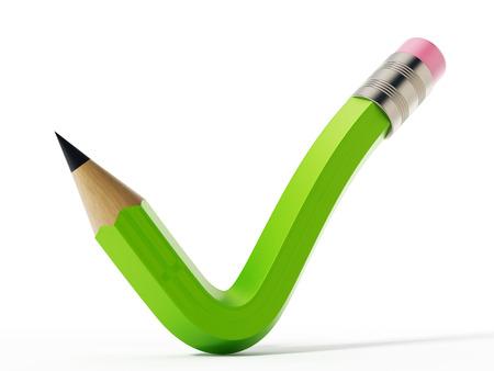 Pencil shaped like a checkmark symbol. 3D illustration.