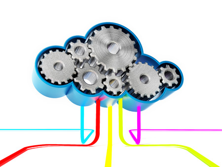 infrastructure: Gears forming a cloud shape connected with colored lines. 3D illustration Stock Photo