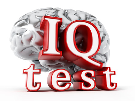 iq: Human brain and IQ test text isolated on white background. 3D illustration.