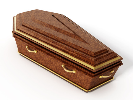 brown box: Coffin isolated on white background. 3D illustration.