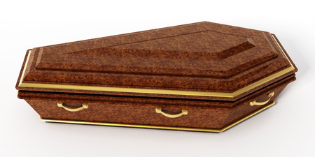 trumna: Coffin isolated on white background. 3D illustration.