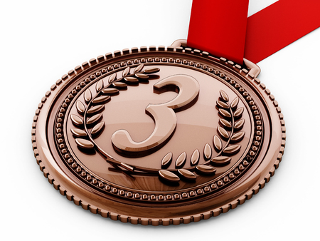 bronze medal: Bronze medal with number three and laurels. 3D illustration. Stock Photo