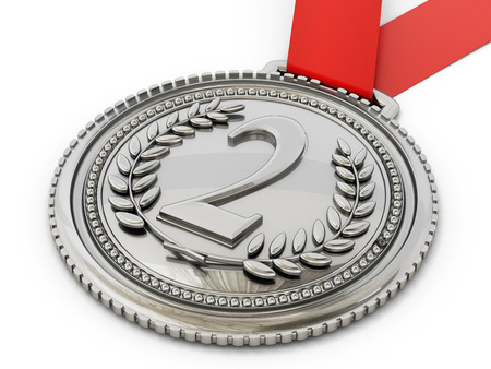 silver medal: Silver medal with number two and laurels. 3D illustration. Stock Photo