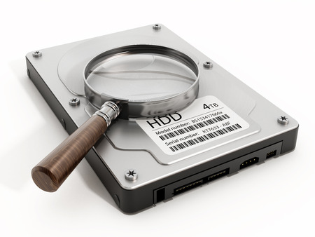 disco duro: Magnifying glass on hard drive. 3D illustration.
