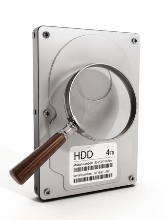 disco duro: Lupa en el disco duro. Ilustración 3D. Foto de archivo