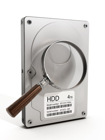 drive: Magnifying glass on hard drive. 3D illustration.
