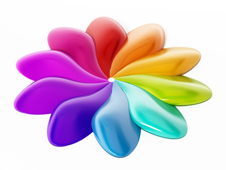 rainbow colors: Abstract multi-colored flower shape isolated on white background. 3D illustration. Stock Photo