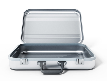 briefcase: Open metal briefcase isolated on white background. 3D illustration.