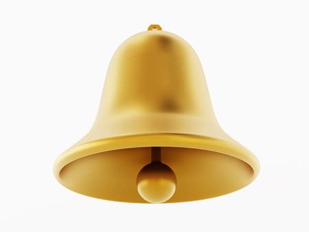 Campane dorate isolate su sfondo bianco. Illustrazione 3D.