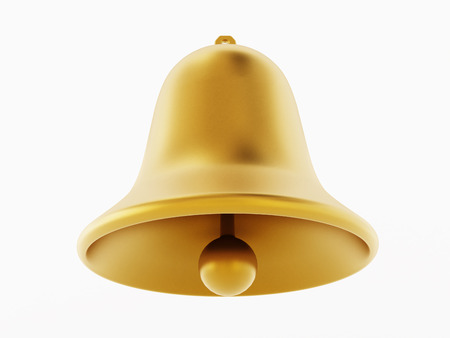 Golden bells isolated on white background. 3D illustration.