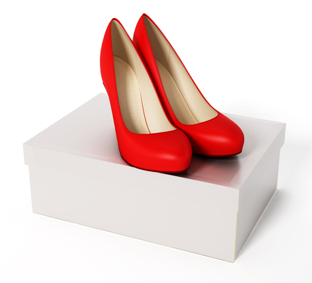 Women shoes and white box isolated on white background. 3d illustration. Stock Photo