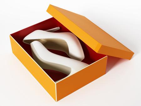 Women shoes and orange box isolated on white background. 3d illustration.