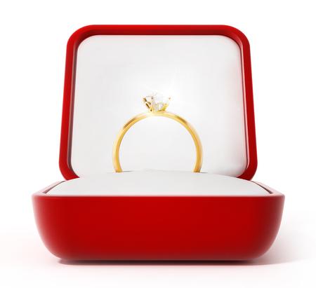 anillo de boda: El anillo de diamante dentro de la caja roja abierta. Ilustración 3D. Foto de archivo