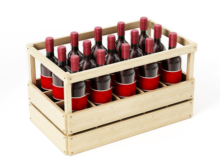 storage box: Wooden crate of red wine isolated on white background. 3D illustration. Stock Photo