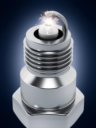 plug: Spark plug on dark background. 3D illustration. Stock Photo
