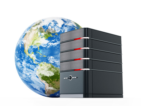 computer case: Black computer case in front of the earth model. 3D illustration.