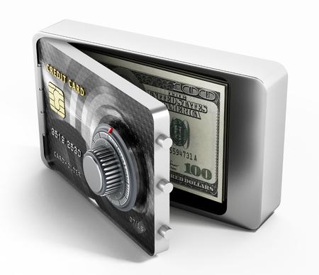 passwords: Half open credit card shaped steel safe. 3D illustration.