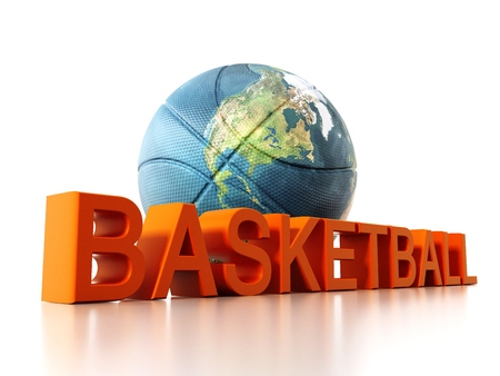 Basketball mapped with Earth texture. 3D illustration.