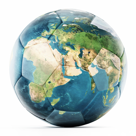 Football mapped with Earth texture. 3D illustration.