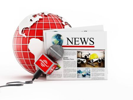 media: Newspaper, microphone and globe isolated on white background. 3D illustration.