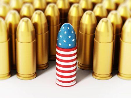 ammo: American flag textured bullet among yellow bullets. 3D illustration.