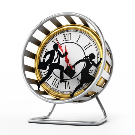 Businessman and business woman silhouettes running in the hamster wheel. 3D illustration.