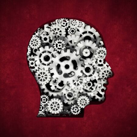 Metal cogs forming head shape. 3D illustration.