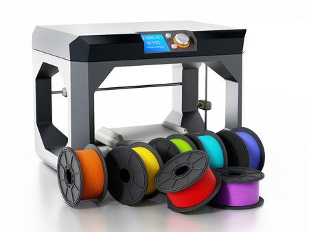 白い背景に分離されたプリンターの横にある 3 D プリンターのフィラメント。3 D イラスト。 写真素材