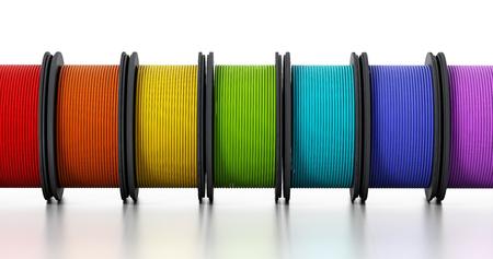 coil: filamentos impresora 3D aisladas sobre fondo blanco. Ilustración 3D. Foto de archivo