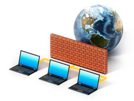 Laptop computers protected by firewall. 3D illustration.