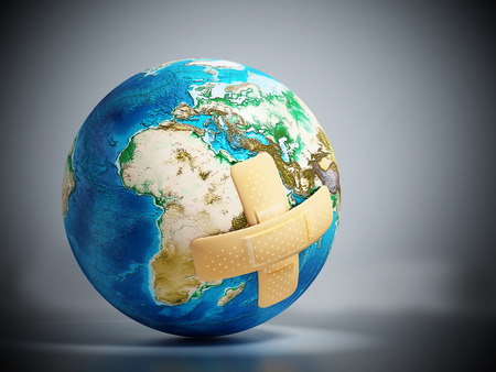 Crossed band-aids on Earth model. 3D illustration. Stock Photo